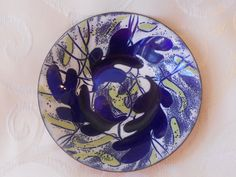 Beautiful vintage enamel dish from 1950s: Handmade by Berne by BackToThe60s on Etsy