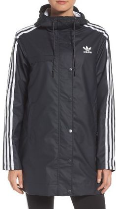 This workout jacket is too cute! Women's Adidas Originals Info Poster Rain Jacket