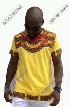 Odeneho Wear Men's Yellow Polished Cotton Top Only/ Dashiki. African Clothing  #ODENEHOWEAR #Dashiki