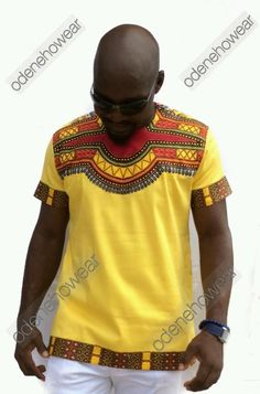 Odeneho Wear Men's Yellow Polished Cotton Top Only/ Dashiki. African Clothing  #ODENEHOWEAR #Dashiki