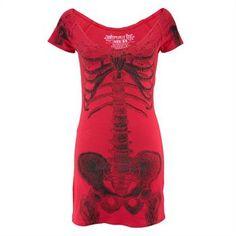Supercooles Shirt-Kleid von Kreepsville 666 mit großem Skelettprint auf der Front und Logoprint auf dem Rücken. Einfach eine echte Styleansage. In weicher Tragequalität aus reiner Baumwolle.
