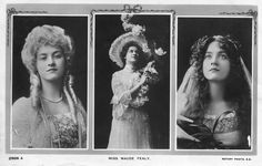 Maude Fealy - multi view | From the review of 'Hearts Courageous', a dramatization of Hallie Rives novel produced at the Broadway Theatre, New York, October 1903, with Miss Maude Fealy as Anner Tillotson:   Miss Maude Fealy made a beautiful and sympathetic heroine, and in the staircase scene did some very pretty comedy   - The Theatre Magazine (US), October, 1903 -  Postcard: Rotary Photo 2906 A ,1905.