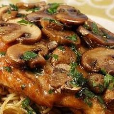 Olive Garden Chicken Marsala http://www.keyingredient.com/recipes/609049499// seems like a lot of marsala?