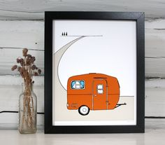 Vintage Camper Art Print RV Trailer Illustration 2500 Via Etsy
