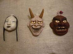 Kabuki masks pendants  100% sculped by hand and some details with acrilic paint #pendants #polymerclay #kabuki #masks #japan