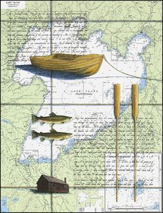 beautiful art from my old babysitter Justine Nautical Chart, Map Art, Limited Edition Prints, Trout, Giveaway, Vintage World Maps, Artwork, Nooks, Painting