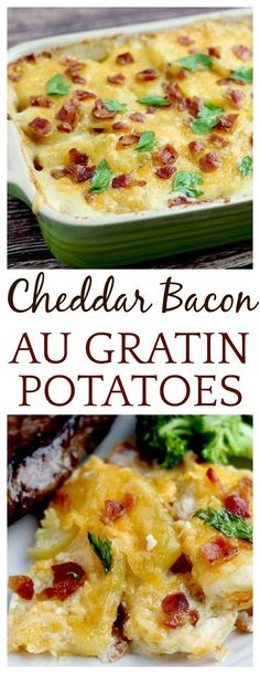 Cheddar Bacon Au Gratin Potatoes are a delicious stick-to-your-ribs classic comfort food! While these potatoes far from a low calorie food, they are oh so worth it - once in awhile. They are great for weekends and special occasions! #potatoes #easyrecipes