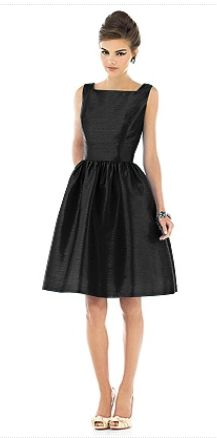 Alfred Sung - short black Audrey Hepburn inspired bridesmaid dress
