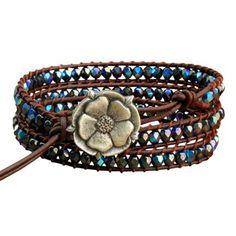 Czech Glass Leather Triple Wrap Bracelet - Peacock
