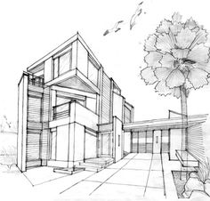 Sketches Of Modern Houses Google Search Things To Draw - Modern house sketch