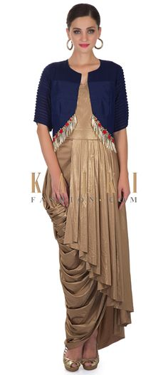Pleated Gold Dress and Navy Blue Silk Jacket with Floral Motifs and Tassels only on Kalki