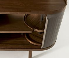 Giorgetti mid-century modern buffet with lazy-susan behind tambour end doors