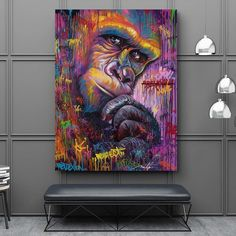 Monkey Gorilla Animal Graffit Abstract Canvas Painting Wall Art For Living Room Modern Decoration Artwork Unframed Living Room Art, Living Room Modern, Tier Zoo, Abstract Wall Art, Modern Decor, Canvas Wall Art, Poster, Monkey, Prints