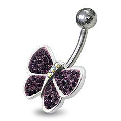 Piercing-Schmuck Lila Kristallsteins Multi Stein Phantasie Schmetterling 925 Sterling Silber Nabelring - http://schmuckhaus.online/chennai-jewellery/lila-piercing-schmuck-edelstein-multi-stein-925