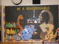 ideas about Dinosaur Bulletin Dinosaur Bulletin Boards, Dinosaur Classroom, Reading Bulletin Boards, Library Themes, Library Book Displays, Library Signs, Library Work, Library Boards, Library Ideas