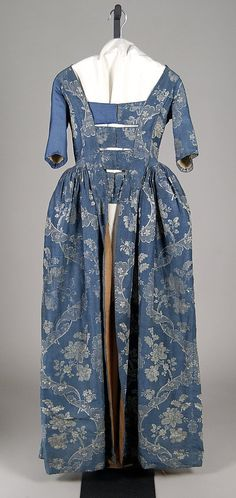 Robe a l'Anglaise, ca. British, silk, wool, cotton - The MMA accession# 18th Century Dress, 18th Century Costume, 18th Century Clothing, 18th Century Fashion, Vintage Gowns, Vintage Outfits, Vintage Fashion, Antique Clothing, Historical Clothing