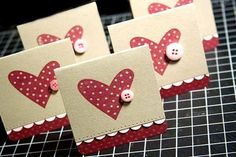 Buttons Attached Heart Card For Valentines Day