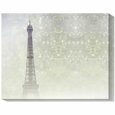Gallery-wrapped canvas giclee print of the Eiffel Tower.