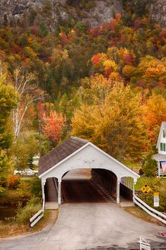 Stark covered bridge NH - New England fall foliage New England Fall Foliage, Old Bridges, Autumn Scenes, Fall Pictures, Old Barns, Covered Bridges, New Hampshire, Belle Photo, Beautiful Landscapes
