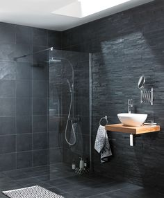 Black Slate Bathroom Tile - [peenmedia.com]