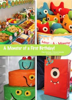 Monster birthday party idea. I like the goody bags with a monster face on them! :)