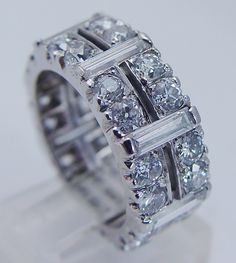 Vintage Platinum 4.10cts Old miner Diamonds Baguettes Eternity Band Ring sz 6.25Purchase