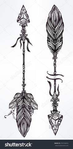Ethnic Boho Decorative Arrows Set In Tattoo Style. Стоковая векторная иллюстрация 374150416 : Shutterstock