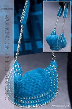 Crochet Handbags Crochet Chain bag - how to make! Love the chains would add a good weight to the crochet I think. Bag Crochet, Crochet Chain, Crochet Diy, Crochet Handbags, Crochet Purses, Crochet Crafts, Crochet Stitches, Crochet Projects, Crochet Patterns