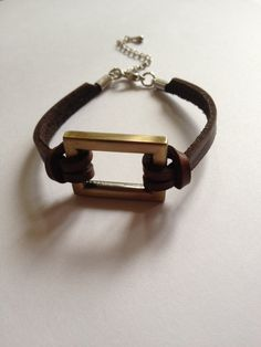 Mens Rectangle & Leather Bracelet: a stylish unisex bracelet for everyday wear. $15.00, via Etsy.
