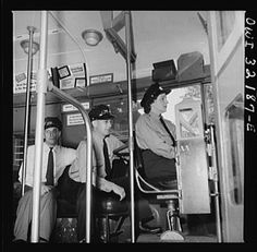 Training to operate Capital Transit streetcar (1940s).