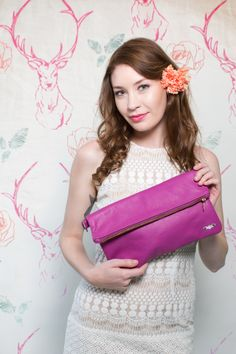 Just remove the strap for a chic fuchsia clutch! // Flying Fox
