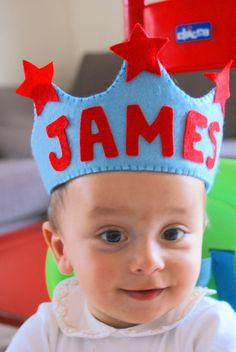 Personalized Handmade Felt Crown Prince Birthday by BebeBoulevard - hand stitched and letters glued