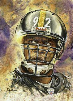 """Steelers James Harrison by artist John Haun 11"""" x 14"""" watercolor."""