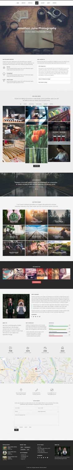 Juno is Premium Responsive Retina Parallax HTML5 Template. Video Background. #RevolutionSlider. If you like this #Photography Template visit our handpicked list of best #PhotographyWebsite Templates at: http://www.responsivemiracle.com/best-html5-photography-website-templates/