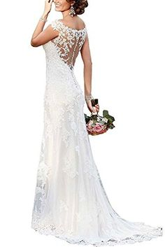 RightBride Women's White Mermaid Wedding Dresses for Bride 2017 Lace Satin Sheath Illusion Neckline Size 20W * Continue to the product at the image link.