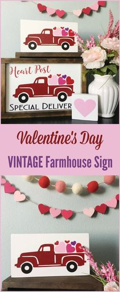 Vintage Valentine's Day decor, Farmhouse decor for the living room, rustic vintage deco #affiliate