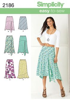 2186 Misses' Skirts Misses' Easy to Sew bias skirt sewing pattern in two lengths.