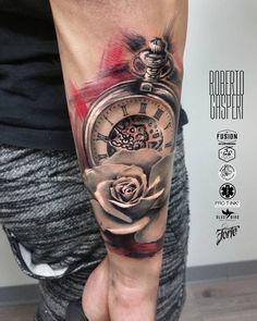 Pocket Watch tattoo by Roberto Gasperi, click now.