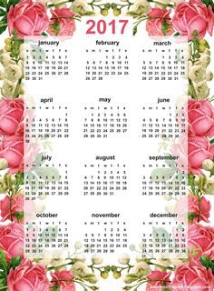 FREE printable 2017 calendar | vintage rose calendar