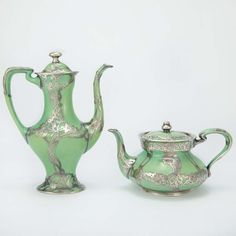 Lenox Ceramic Arts Company Silver Overlay Porcelain Partial Breakfast Service   Early 20th century