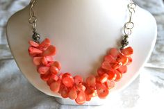 Coral Necklace with Sterling Silver Bali Beads and Chain