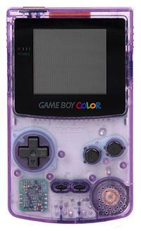 The Game Boy Color, released in 1996, was the first real upgrade in the Game Boy Series. Obviously the games were shown in color instead of the ugly (or pretty if you like retro stuff) green backdrop of the Game Boy. This was and 8-bit handheld system and therefore used new Game Boy Color games. It was backwards compatible with the older Game Boy games.  I had a purple see thru one just like this!