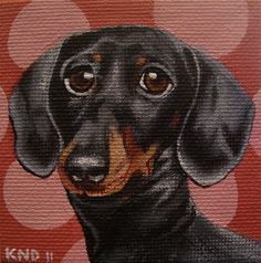 Dachshund Miniature Painting with Easel by aBrushWithLove