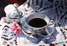 Sunday Coffee by Monika Pate Watercolor ~ 20 x 28