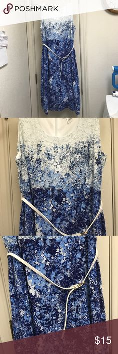 Blue and white maternity dress Super cute blue and white maternity dress with built in slip and belt. Size small and gently used! Motherhood Maternity Dresses