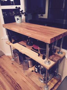 Wood Steel, Kitchen Cart, Wood Projects, Home Decor, Wooden Projects, Homemade Home Decor, Kitchen Utility Cart, Kitchen Carts, Woodworking