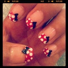 The most adorable Minnie Mouse nails.