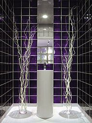 Showers do not have to be generic with clear colored glass! Love this purple colored glass blocks for a walk in shower. Click through and learn more about manufacturer of this block. Budget Bathroom, Bathroom Wall Decor, Small Bathroom, Bathroom Remodeling, Remodeling Ideas, Bathroom Ideas, Pantone, Glass Block Shower, Best Bathroom Colors