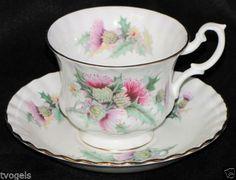 Vintage-Royal-Albert-Summer-Time-Series-Thistle-Montrose-Shape-Teacup-Saucer