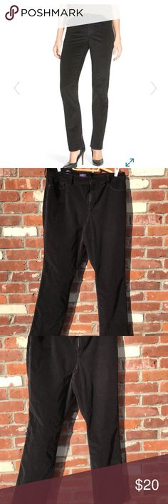 """NYDJ """"Marilyn"""" Black corduroy pants. 16w. EUC, freshly laundered. NYDJ black cords, size 16w, Marilyn cut. Details: NYDJ Marilyn Corduroy Straight Leg Pants feature a contoured waistband and higher rise that sits just above the natural waist for a comfortable fit and slim silhouette. Classic straight leg opening. Lift Tuck Technology® lifts and shapes curves so you instantly appear one size smaller. A deeply-luxurious corduroy with a soft hand. Five-pocket design, belt loop waistband, zipper…"""